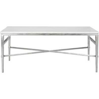 ACKER WHITE MARBLE COCKTAIL TABLE / SILVER - Arlo Home