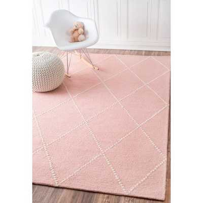 nuLOOM Handmade Dotted Trellis Wool Kids Nursery Baby Pink Rug (5 x 8) - Overstock