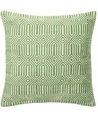 """ANISSA INDOOR/OUTDOOR PILLOW, GREEN - 22"""" x 22"""" - polyester - Lulu and Georgia"""