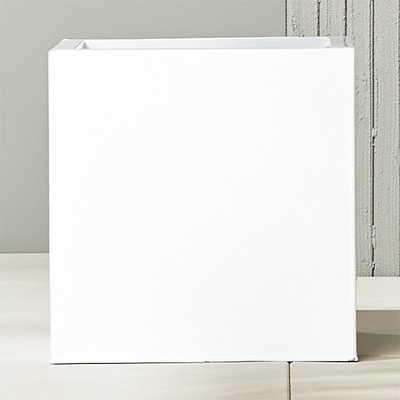 blox large square galvanized high-gloss white planter - CB2