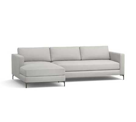 Jake Upholstered Sofa with Chaise Sectional - Sunbrella Canvas, Gravel - Pottery Barn