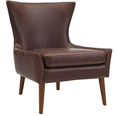 KEEN UPHOLSTERED VINYL ARMCHAIR IN BROWN - Modway Furniture