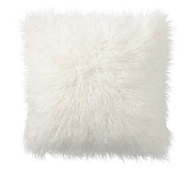 """Mongolian Faux Fur Pillow Cover, 18"""", Ivory - Pottery Barn"""