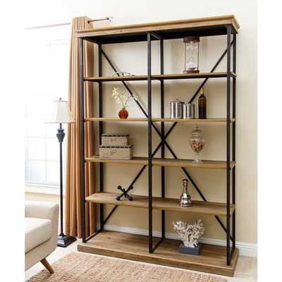 ABBYSON LIVING Dutch Wood and Iron Industrial Five-tier Double Bookcase - Abbyson Living