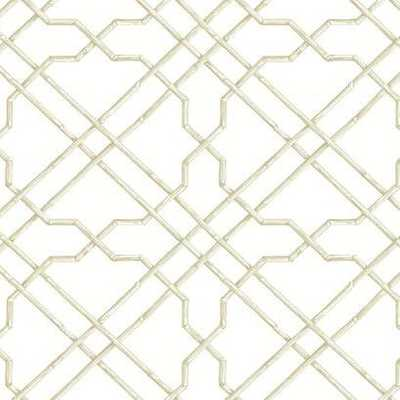 Bamboo Trellis Wallpaper AB1822 - Ivory, Double Roll - York Wallcoverings