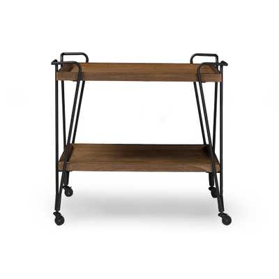 Baxton Studio Alera Rustic Industrial Style Antique Black Textured Finish Metal Distressed Ash Wood Mobile Serving Bar Cart - Lark Interiors