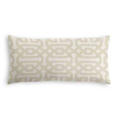 Lumbar Pillow - Sunbrella Fretwork - Flax w/ Down Insert - Loom Decor