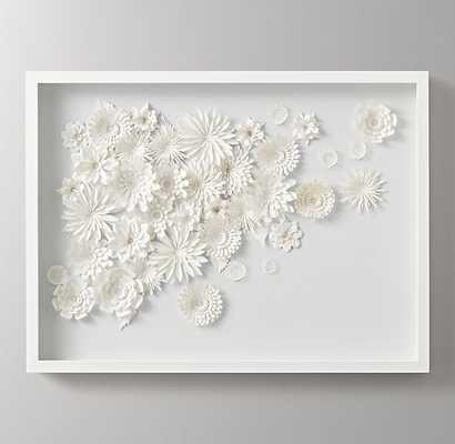 """HAND-FOLDED PAPER FLOWER ART LARGE - WHITE - 30""""W., 2""""D - White Frame - RH Baby & Child"""