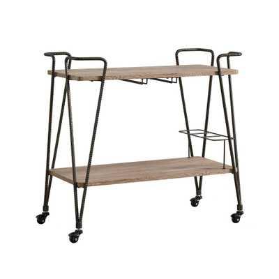Arnold Dark Bronze Bar Cart with Wine Glass Storage - Home Depot