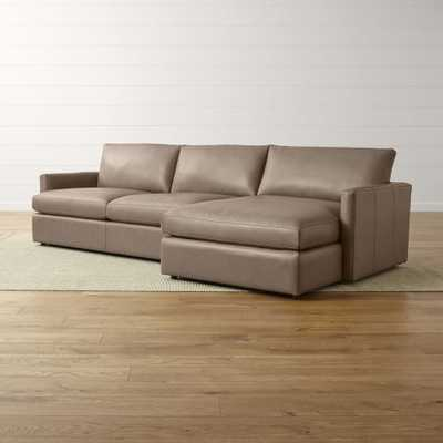 Lounge II Petite Leather 2-Piece Right Arm Chaise Sectional Sofa - Crate and Barrel