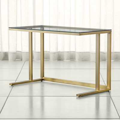 Pilsen Brass Desk with Glass Top - Crate and Barrel