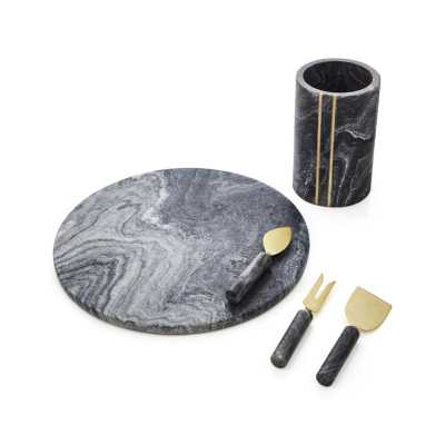Hayes Black Marble Wine Cooler - Crate and Barrel