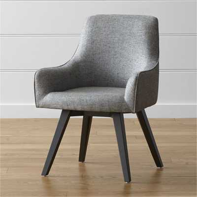 Harvey Black Swivel Armchair - Crate and Barrel