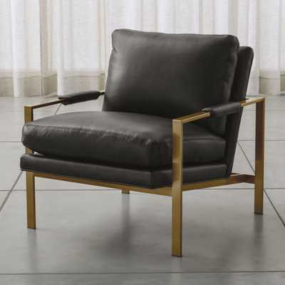 Milo Leather Chair with Brushed Brass Base - Crate and Barrel