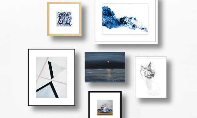 Barely Blue Gallery Wall - Artfully Walls