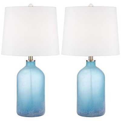 Aston Blue Frosted Glass Table Lamp Set of 2 - Lamps Plus