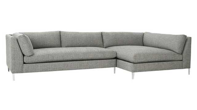 Decker 2-piece sectional sofa (right chaise) - Salt & Pepper - CB2