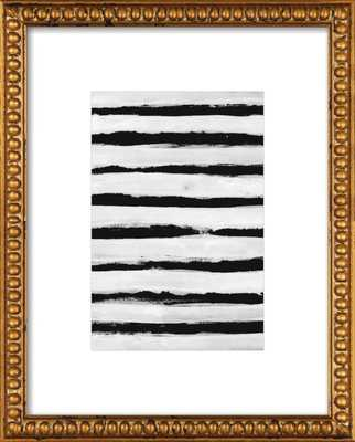 """Black and White Stripes, 10""""X 14"""",Gold crackle bead wood - Artfully Walls"""