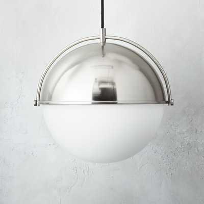 Globe Large Brushed Nickel Pendant Light. - CB2