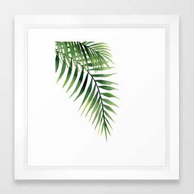 """PALM LEAVES FRAMED ART PRINT VECTOR WHITE MINI - 12"""" x 12"""" - Society6"""