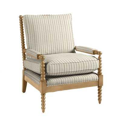 Shiloh Spool Chair- Grayson Stripe Taupe with Latte Finish - Ballard Designs