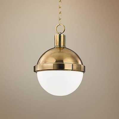 "Hudson Valley Lambert 9 1/2""W Aged Brass Mini Pendant - Lamps Plus"