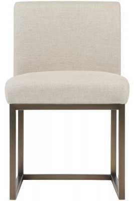 Lauren Beige Linen Chair in Brass - Maren Home