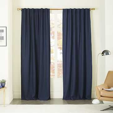 "Belgian Linen Curtain, Midnight, 48""x96"" - West Elm"