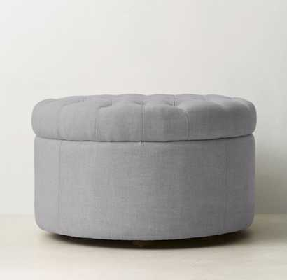 TUFTED ROUND STORAGE OTTOMAN belgian linen cotton gray - RH Teen