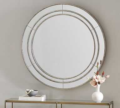 Marlena Antique Mirror Round, Brushed Silver - Pottery Barn