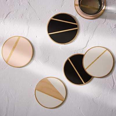 The Vintage Vogue Linea Coasters, Pink + Gold - West Elm