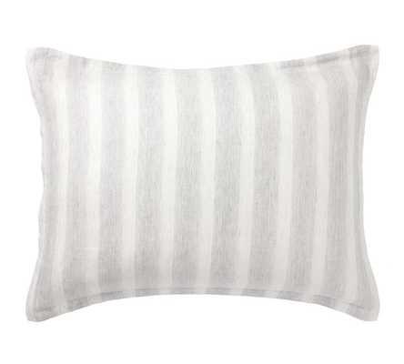 Jamie Stripe Linen/Cotton Sham, King, Smoke - Pottery Barn