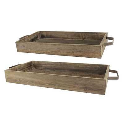 Stonebriar Industrial Wood Trays with Rustic Metal Handles - Set of 2 - Target