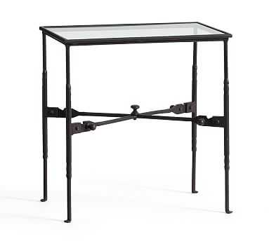 Estelle Artisanal Vintage Iron Glass Accent Table - Pottery Barn