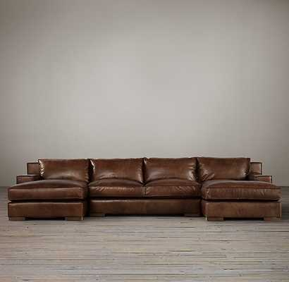 Preconfigured Capri Leather U-Chaise Sectional - RH