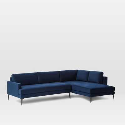 Andes Right Terminal Chaise Sectional - Ink Blue Performance Velvet - X-Large - West Elm