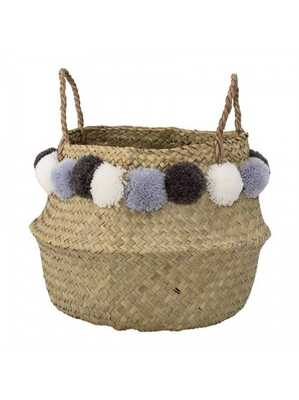 SERENA POM POM BASKET, BLUE - Lulu and Georgia