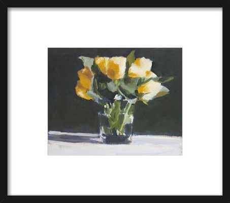 Yellow Roses - Framed - Thin Black Wood Frame - White Mat - Artfully Walls