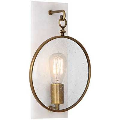 """Fineas 14 1/4"""" High Alabaster-Bronze Plug-In Wall Sconce - Lamps Plus"""