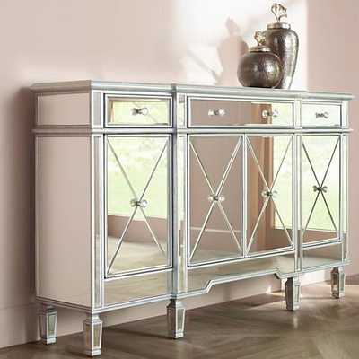 Cablanca 4-Door 3-Drawer Silver Accent Cabinet - Lamps Plus