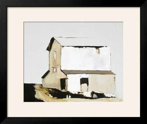"""White Barn - 36"""" x 30"""" Art Print - Black Frame with Mat - art.com"""