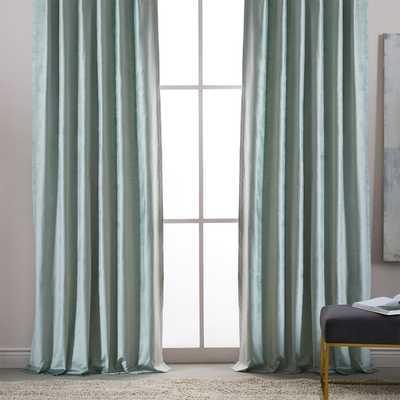 "Luster Velvet Curtain, Set of 2, Pale Jade, 48""x108"" - West Elm"