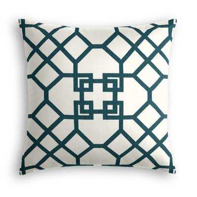 """Asian Teal Trellis 18"""" Pillow - Loom Decor"""