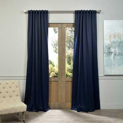 Exclusive Fabrics & Furnishings Navy Blue Blackout Curtain - 50 in. W x 84 in. L (Panel) - Home Depot