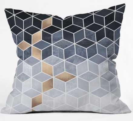 Soft Blue Gradient Cubes Pillow - Wander Print Co.