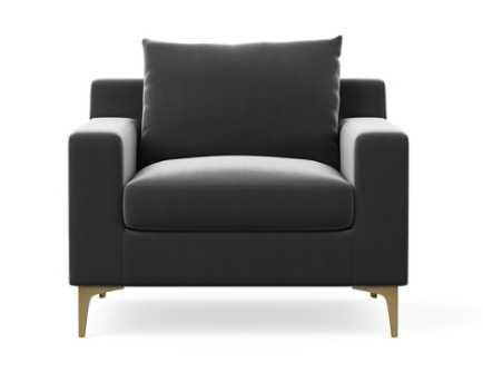 CUSTOM - SLOAN FABRIC ACCENT CHAIR - Narwhal Mod Velvet, Sloan L Brass Legs - Interior Define