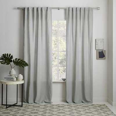 Belgian Flax Linen Curtain - Platinum with Blackout Lining - West Elm