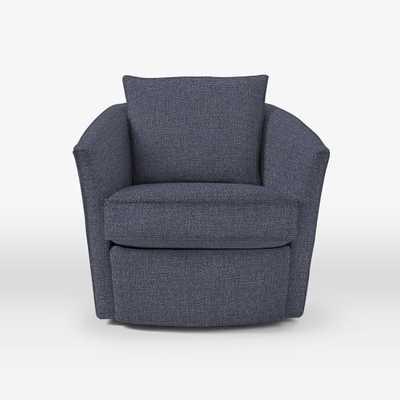 Duffield Swivel Chair - Pebble Weave Indigo Blue - West Elm