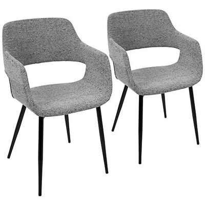 Margarite Gray Fabric Dining Chair Set of black, 2 - Lamps Plus
