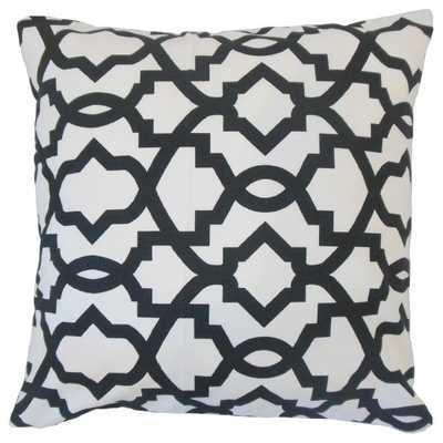"Daveney Geometric Pillow Black - 20"" x 20"" - Polyester  Insert - Linen & Seam"